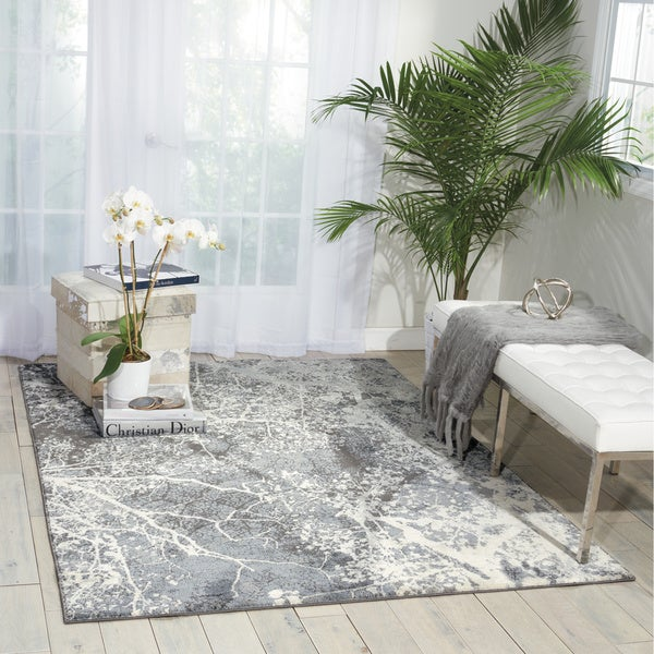Nourison maxell grey area rug 5 39 3 x 7 39 3 free shipping for 10x14 living room design