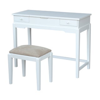 Solid Wood Vanity Table with Vanity Bench (Snow White Finish)