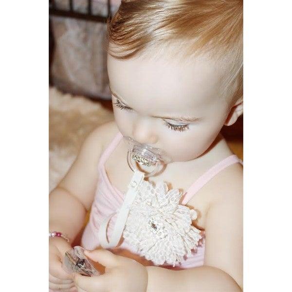 dummy pacifier clip baby girl dark pink damask teddy bear clip