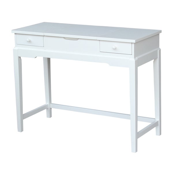 Solid Wood Vanity Table Snow White Finish Free