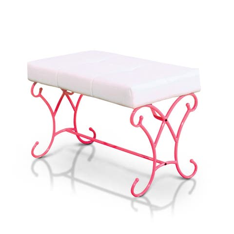 Furniture of America Gess Contemporary Pink Faux Leather Padded Bench