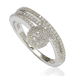 Suzy Levian Sterling Silver Cubic Zirconia Pave Ball Ring