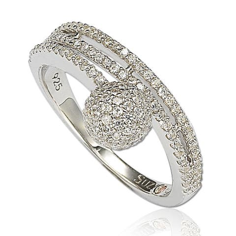 Suzy Levian Sterling Silver Cubic Zirconia Pave Ball Ring - White