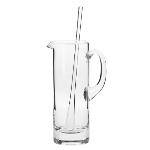 Krosno Bond Clear Glass 30-ounce Handmade Martini Pitcher and Stirrer Set