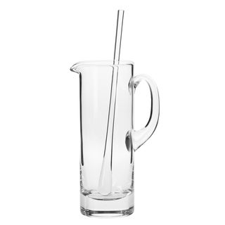 Krosno Bond Clear Glass 30-ounce Handmade Martini Pitcher and Stirrer Set