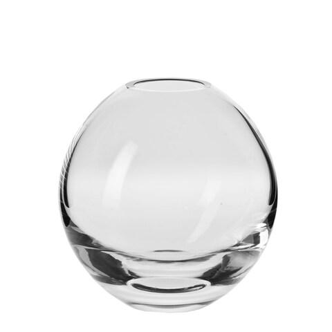 Krosno Handmade Clear Glass 7-inch Annika Round Vase