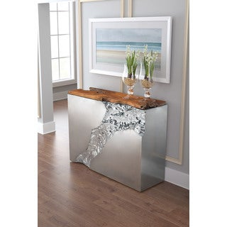 Zuo Luxe Stainless Steel and Natural Teak Console Table