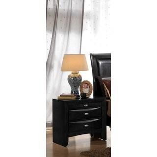 LYKE Home Ema Black Wood and Veneer 2-drawer Nightstand