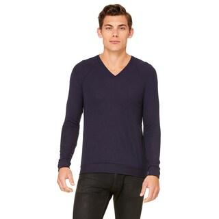 Unisex Purple Viscose/Polyester V-Neck Lightweight Sweater