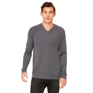 Unisex Dark Grey Heather Big & Tall V-Neck Lightweight Sweater