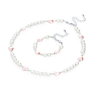 Crystal Dream Luxury Gift Set with Pearls and Hearts Baby Infant Bracelet and Necklace