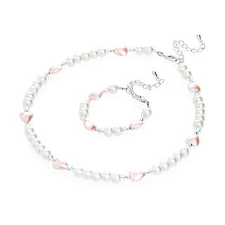 Crystal Dream Luxury Gift Set with Pearls and Hearts Baby Infant Bracelet and Necklace|https://ak1.ostkcdn.com/images/products/12432512/P19248733.jpg?impolicy=medium