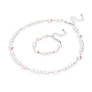 Crystal Dream Luxury Gift Set with Pearls and Hearts Baby Infant Bracelet and Necklace (More options available)