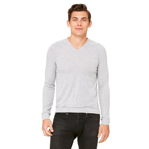 Big & Tall Unisex Heather Grey Polyester and Viscose Lightweight Athletic V-neck Sweater