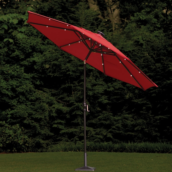 foot round scarlet outdoor solar lighted umbrella free shipping. Black Bedroom Furniture Sets. Home Design Ideas