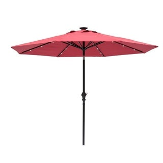 9-foot Round Scarlet Outdoor Solar Lighted Umbrella