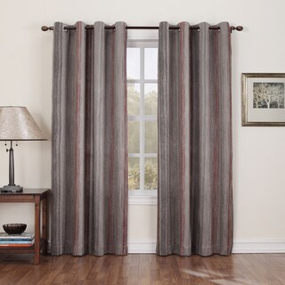 Sun Zero Hanson Stripe Brown Grommet Window Curtain Panel