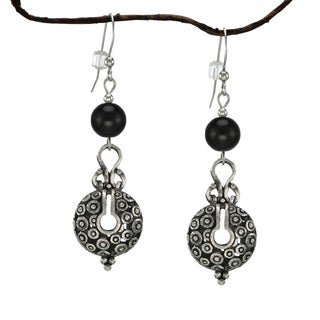 Jewelry by Dawn Black Glass Bead Vintage Style Pewter Earrings