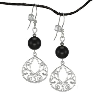 Jewelry by Dawn Black Glass Fancy Filigree Teardrop Sterling Silver Earrings