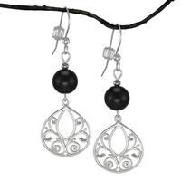 Handmade Jewelry by Dawn Black Glass Fancy Filigree Teardrop Sterling Silver Earrings (USA)