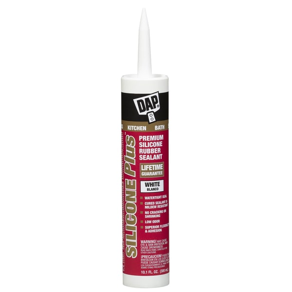 Dap 08770 10 1 oz white silicone plus silicone rubber for Silicone paint sealant