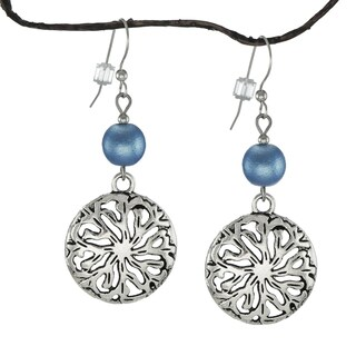 Jewelry by Dawn Blue Satin Glass Pewter Medallion Earrings