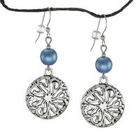 Handmade Jewelry by Dawn Blue Satin Glass Pewter Medallion Earrings (USA)