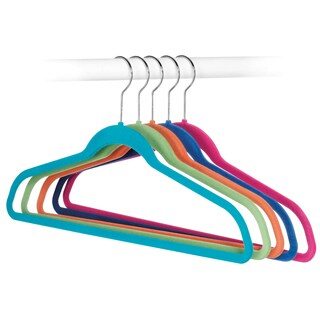 Whitmor 6784-1621-5 Flocked Suit Hangers Assorted Colors 5-ct