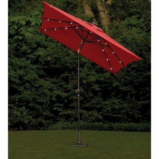 Rectangular Scarlet Outdoor Solar Lighted Umbrella (9' x 7')