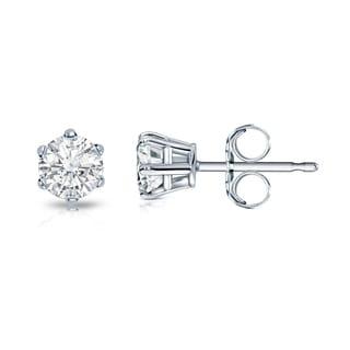 Auriya 14k Gold 1/3ct TDW Round-Cut Diamond 6-Prong Push-Back Stud Earrings (I-J, SI2-SI3)