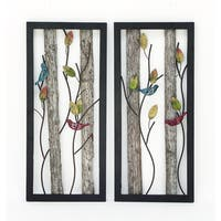 Urban Designs 'Birds in the Leaves' Wood/Metal 2-panel Wall Art