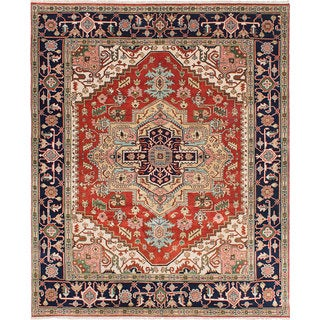Ecarpetgallery Hand-knotted Serapi Heritage Blue, Brown Wool Rug (8' x 9'10)