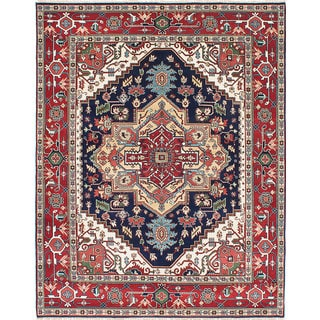 Ecarpetgallery Hand-knotted Serapi Heritage Blue, Red Wool Rug (7'10 x 9'11)