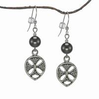 Handmade Jewelry by Dawn Hematite Pewter Celtic Teardrop Earrings (USA)