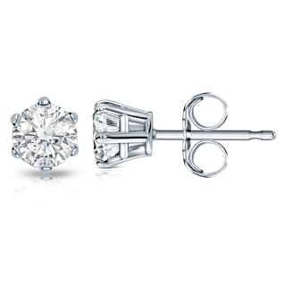 Auriya 14k Gold 1 1/2ct TDW Round-Cut Diamond 6-Prong Push-Back Stud Earrings