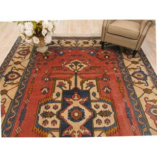 Hand-knotted Wool Rust Traditional Oriental Sultanhan Rug (8'5 x 11'9)