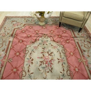 EORC Hand Knotted Wool Pink Savonerrie Rug (9' x 12'2)
