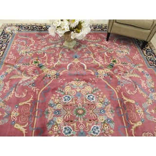 Hand-knotted Wool Rose Traditional Oriental Savonerrie Rug (8'10 x 11'11)