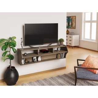 Prepac Altus Plus Grey Wood AV Console Table