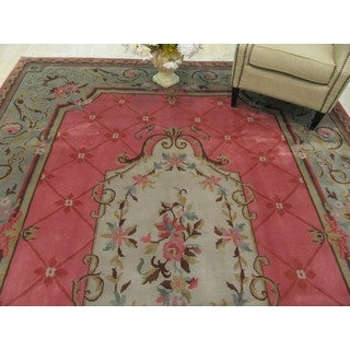 EORC Hand Knotted Wool Pink Savonerrie Rug (9'1 x 12'4)