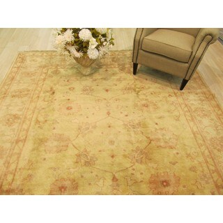 EORC Hand Knotted Wool Beige Peshawar-Oushak Rug (8'2 x 10'2)
