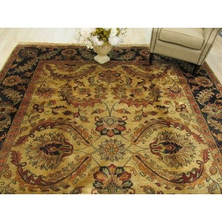 EORC Hand Knotted Wool Beige Jaipur Rug (9'3 x 11'11)