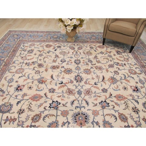 Hand-knotted Wool Ivory Traditional Oriental Kashan Rug (11'6 x 18'5) - 12' x 18'