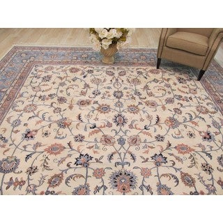 EORC Hand Knotted Wool Ivory Kashan Rug (11'6 x 18'5)