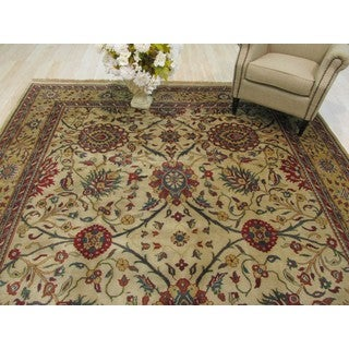 Hand-knotted Wool Beige Traditional Oriental Sarouk Rug (9'1 x 12'1)