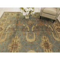 Hand-knotted Wool Green Traditional Geometric Ziegler Rug (9' x 12'1)