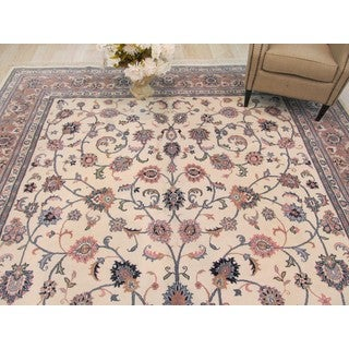 EORC Hand Knotted Wool Ivory Kashan Rug (10'1 x 18'3)