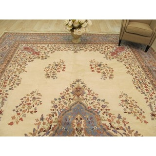 EORC Hand Knotted Wool Ivory Open-field Kerman Rug (11'11 x 18'2)