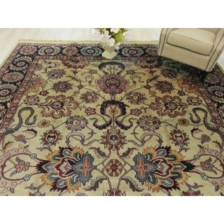 EORC Hand Knotted Wool Beige Mahal Rug (10' x 13'11)