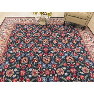 Hand-knotted Wool Green Traditional Oriental Pak-Persian Rug (9'2 x 11'10)